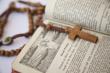 catholic missal and rosary