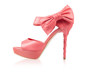 Evening shoes with a bow on a high heel