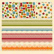 Vector Seamless Patterns and Lacy Ribbons