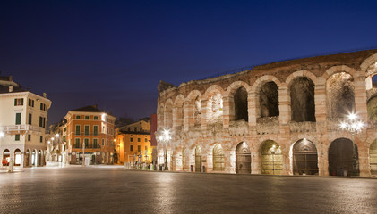 Verona - Arena and Piazza Bra in dusk