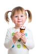 cute kid girl eating ice cream in studio isolated
