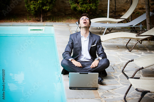 Tired Man Businessman overworking outdoors