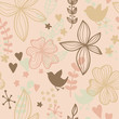 Abstract floral pattern with birds hearts and plants
