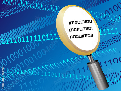binary code with magnifying glass vector illustration