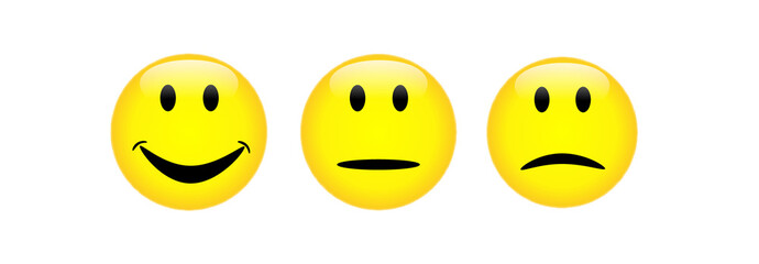 Gesichtsausdrücke positiv, neutral, negativ