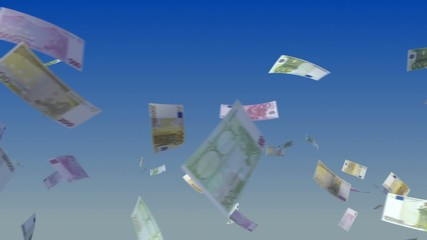 Flying Euro notes on sky background.