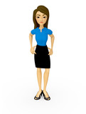 3D Bossy businesswoman