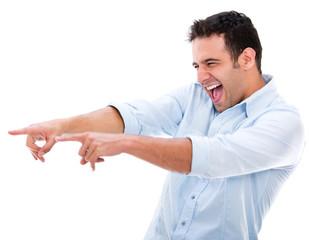 Man making fun of something