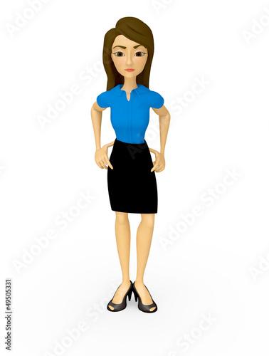 3D Bossy businesswoman