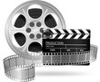 Illustration of cinema clap and film reel isolated on white
