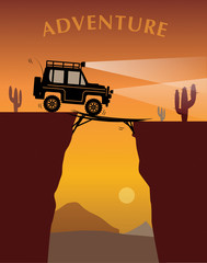 Off-road adventure, vector illustration