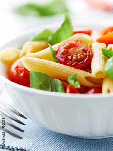 Penne pasta with roasted cherry tomatoes