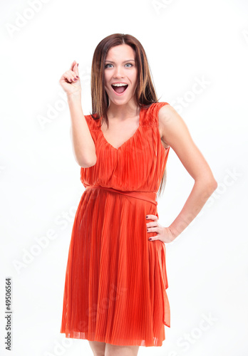 Surprise! Portrait of excited surprised young woman