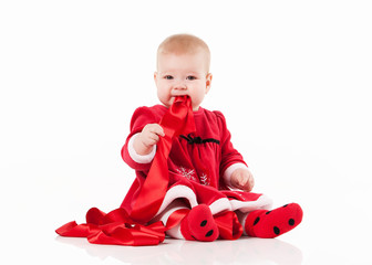 little baby in red dress isolated on a white background