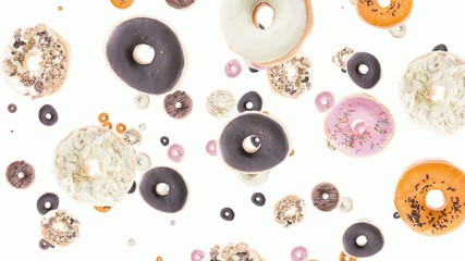 Donuts falling down (ends on green background)