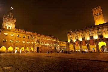 Piazza Maggiore with Accursio Palace and Palazzo del Podest