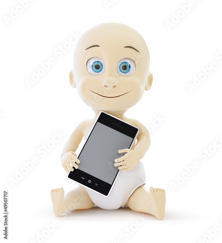 baby smart phone on a white background