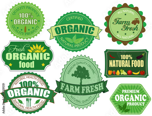 Set of organic and farm fresh food badges and labels