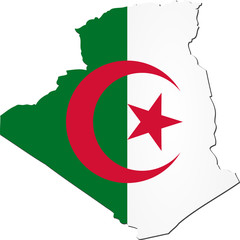 Map of Algeria with national flag