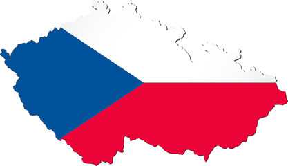 Map of the Czech Republic with national flag