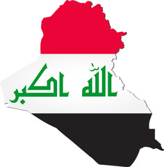 Map of Iraq with national flag