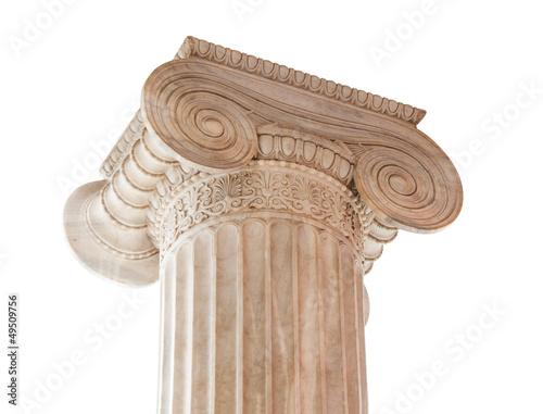 Leinwanddruck Bild Ionic Column Capital on white