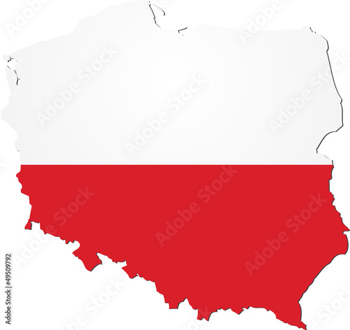 Map of Poland with national flag