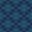 Damask seamless wallpaper: blue on dark blue.