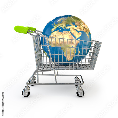 Global shopping, Earth map texture source: cinema4dtutorial.net