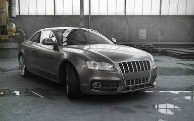luxury sport sedan car in a garage 3d rendering