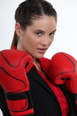 Attractive female boxer