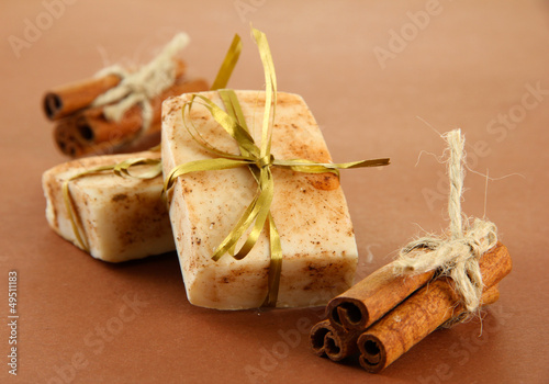 Natural handmade soap, on brown background
