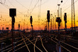 canvas print picture - Railway Tracks at Sunset