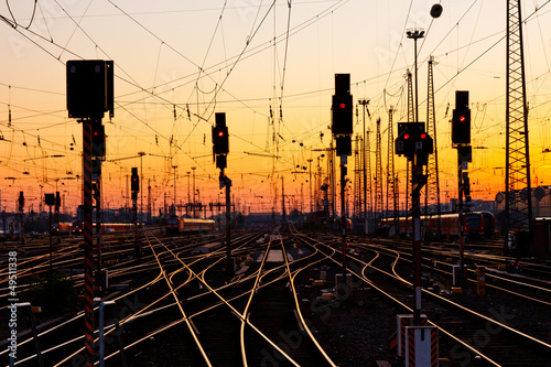 canvas print picture Railway Tracks at Sunset