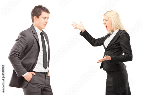 Professional male and female having an argument