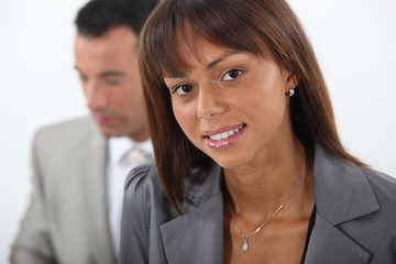 Close-up of young business couple