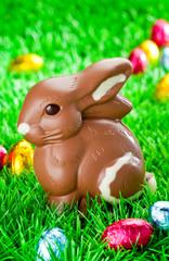 Schokoladenhase sitzt im Gras