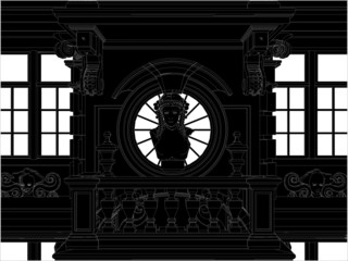 Beautiful Eclectic Facade Front View Vector 02