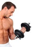 Man using a dumbbell