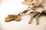 "Keys and keychain with words ""South Africa"""