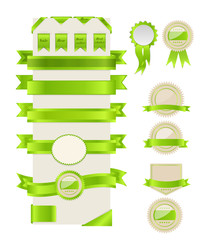 Green ribbons and labels. Vector illustration.
