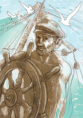 sea captain - a hand drawn illustration converted into vector