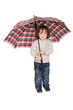 Young boy holding an open umbrella