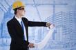 Architect review blueprint plan