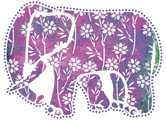 Purple Elephant With Flower Patterns