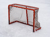 Hockey net on outdoor rink