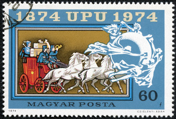 stamp printed in Hungary shows Old mail automobile