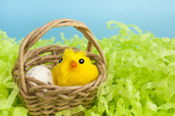 Yellow fluffy Easter chicken toy.