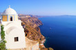 Traditional church overlooking the caldera at Santorini, Greece