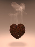 Coffee grains in the form of a heart